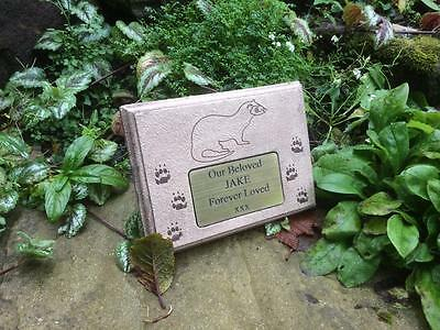 Personalised Ferret Memorial Marker Stone with Plaque Antique Finish
