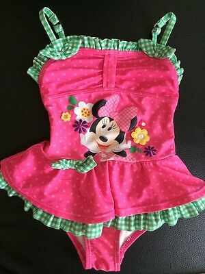 Disney Minnie Mouse Swim Costume Swimsuit Baby Girls 12-18 Months