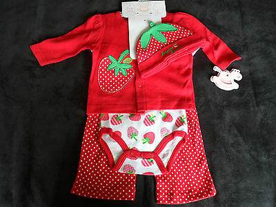 "Baby Girls 4 Piece ""super sweet"" Strawberry Layette/Starter Clothes Gift Set."