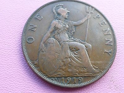 George v Penny coin 1919 King Norton Mint good grade    Ref 500