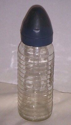 Antique Stork Armstrong Eveready Glass Baby Bottle 8 Oz Flat Side Ribbed 1940