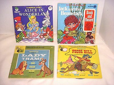 Vintage Lot Of 4  Record & Read Along Books - Disney & Peter Pan Records - 1971