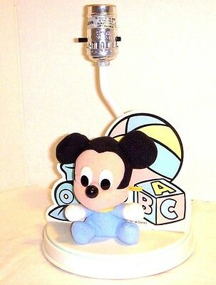 Vintage Baby Mickey Mouse Bedside Lamp - Disney 1986 - 60 Watt - Without Shade