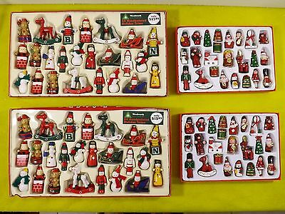 Lot Of 4 Woolworth Handpainted Holiday Trims & Wooden Christmas Decor Ornament