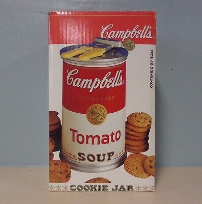 """1999 Rare Campbell's Tomato Soup Can With Opener Lid Cookie Jar Nib """"ships Free"""""""