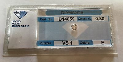 DIAMANTE NATURALE IN BLISTER ISTITUTO ANALISI GEMMOLOGICHE ct. 0,30 E VS 1