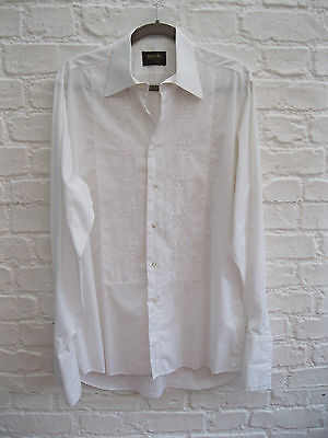 Vintage ROCOLA Embroidered White Dress Shirt Double Cuff. Collar 15.5 * UK S / M