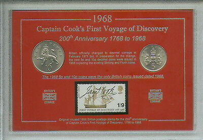 Captain Cook First Voyage of Discovery Endeavour Coin Stamp Collector Gift Set
