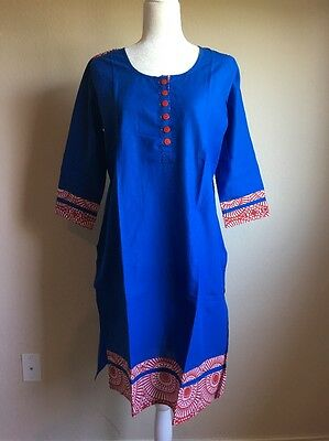 NWT Bollywood Beautiful Women's Kurta Kurti Tunic Cotton Blue Sz L