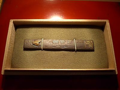ANTIQUE EDO PERIOD IRON KOZUKA HANDLE CICADA CALLIGRAPHY Japanese samurai sword