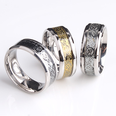 Dragon Celtic Ring, Gold/Silver/Black, Stainless Steel, Size R/U, UK Stock