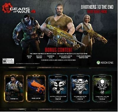 GEARS OF WAR 4 DLC FOAM Lancer pack,VINTAGE DEL+BROTHERS TO THE END GEAR PACK