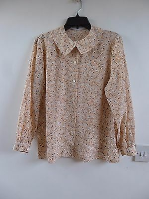 Unbranded true vintage Japanese floral silky polyester blouse/shirt  size M