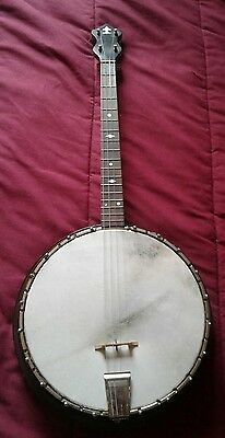 VINTAGE 1920's 1930'S  4-STRING TENOR BANJO. NEW HEAD. PLAYS WELL 17 FRET