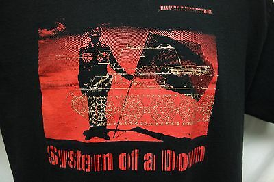 System of a Down black w/ red graphic band tee t-shirt SZ L SOTD rock metal