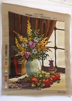 Completed Cross Stitch Made in Austria Tapex Vienna Floral with Fruits