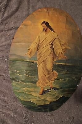 Vintage Oval Crackled Print of Jesus Walking on Water  **Beautiful Picture**