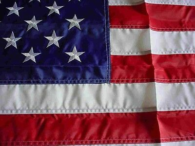 American Flag 2X3' Old Glory Nylon Embroidered Banner + 6ft Pole Kit Made in USA