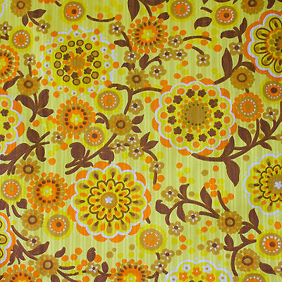 vintage 1960s Pop Art floral yellow print cotton fabric piece