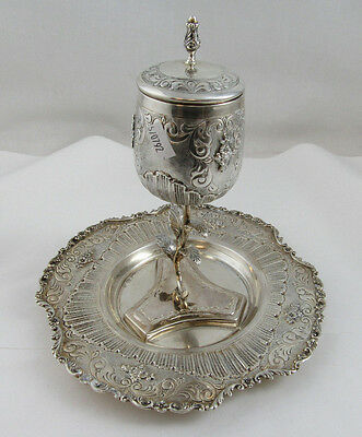 """gorgeous Viznitz Kiddush Set Cup with Plate - Sterling Silver 925 474g Height 7"""""""