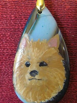 Australian Terrier hand painted on teardrop Onyx Agate pendant/bead/necklace
