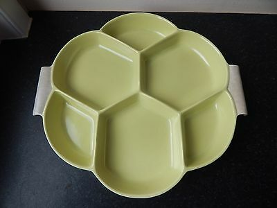 Vintage Poole Twintone Hors D'Oeuvres Dish - Shape 41 Lime Yellow & Seagull C103