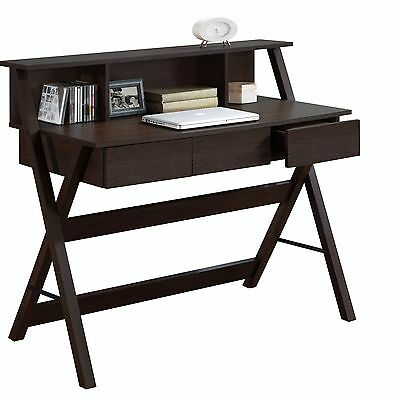 CorLiving WFP-770-D Folio Modern Wenge Three Drawer Desk with Low Profile Hutch