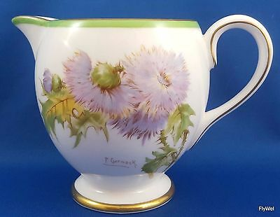 Royal Doulton Glamis Thistle Footed Creamer Floral Gold Trim 10 oz  P Curnock