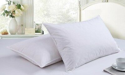2 x 100% Cotton Duck Feather Down Anti-Allergy Pillow Extra Filled Hotel Quality
