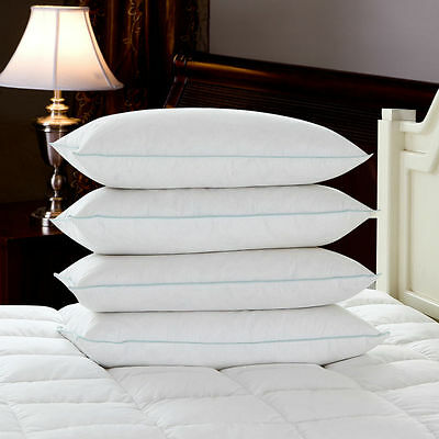 4 x Luxury Duck Feather and Down Anti-Allergy Pillow Extra Filled Hotel Quality