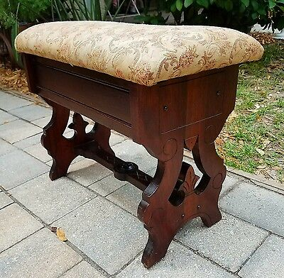 Mahogany bench Slipper Sewing Piano Vanity Stool seat Eastlake Victorian antique