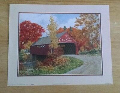"Vintage Coca Cola Lithograph Print / ""Covered Bridge"" by Robert Doares"