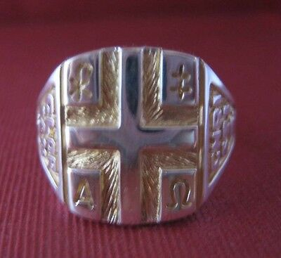 Solid silver ring - Christian symbols - 23882