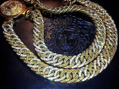 "35"" VERSACE 18mm ICED OUT Medusa Necklace CHAIN Diamond Gold Miami Cuban Link"