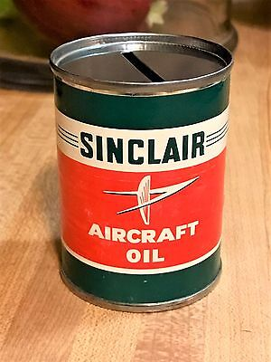 Vintage Sinclair Aircraft Motor Oil Mini Bank Tin Cans With Labels