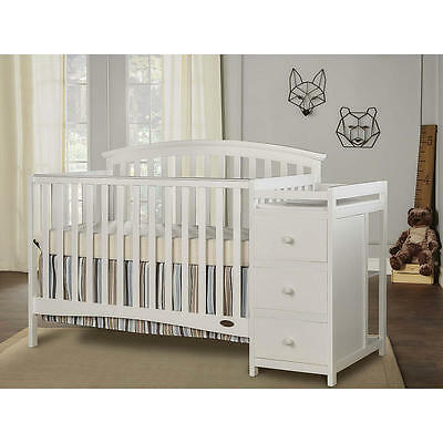 Dream On Me Niko 5-in-1 Convertible Crib with Changer - White