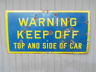 Vintage Authentic LEHIGH VALLEY RAILROAD Porcelain Warning Sign To Keep Off Car