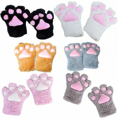 Party Halloween Cat Kitten Paw Plush Cosplay Costume Gloves