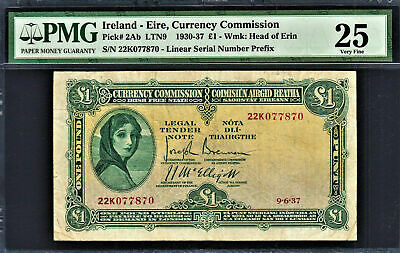 Ireland Lady Lavery £1 Dated 12-10-1937 Pick-2Ab Very Fine PMG 25