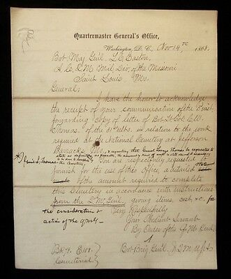 1868 US ARMY Jefferson Barracks MO NATIONAL CEMETERY CONSTRUCTION Letter Head