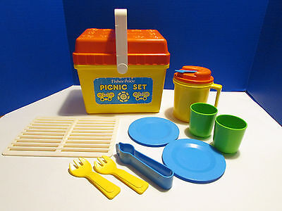 Vintage Fisher Price Fun with Food Picnic Play Set Plates Cups Grill