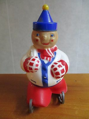 """5-1/2"""" Rosbro Jolly Skater Blue Hat Vintage Hard Plastic Candy Container"""