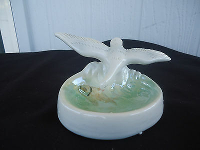 vintage retro art deco  seagull & fish figurine trinket dish french lustre ware