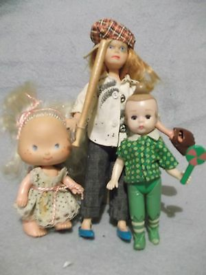 "3 small dolls 7"" bendy rubber tomboy - McD's Munchkin & American Greetings tot"
