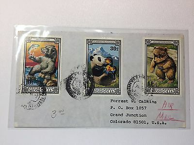 Mongolia 788 790 794 panda bear airmail cover to USA