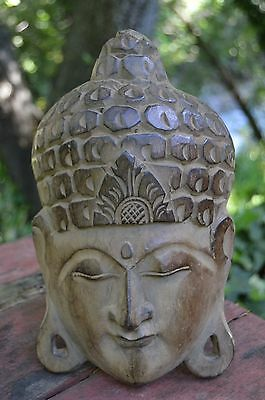 Wood Carved Mask Asian  Japanese Chinese Buddhist Antique Vintage Wooden