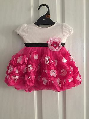 NEW Baby Kids Girls Pink Rosette Tutu Party Dress Size 0-3-6-9-12-18-24 months