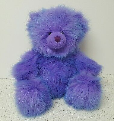 Russ Berrie Teddy Bear Plush Purple Blue Lollypop 11""