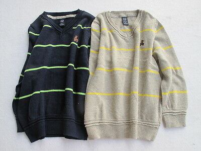 BNWOT Gap Kids Boys Stripe Knit Winter V Neck Pullover Sweater SIZE 2.3.4.5 navy