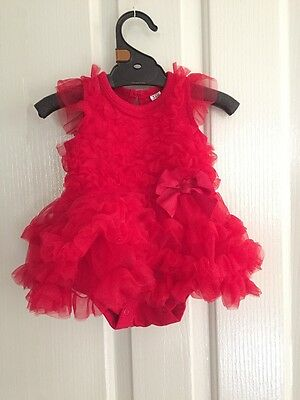NEW Baby Kids Girls Red Festive Baby Tutu Party Dress Size 0-3-6-12-18 months
